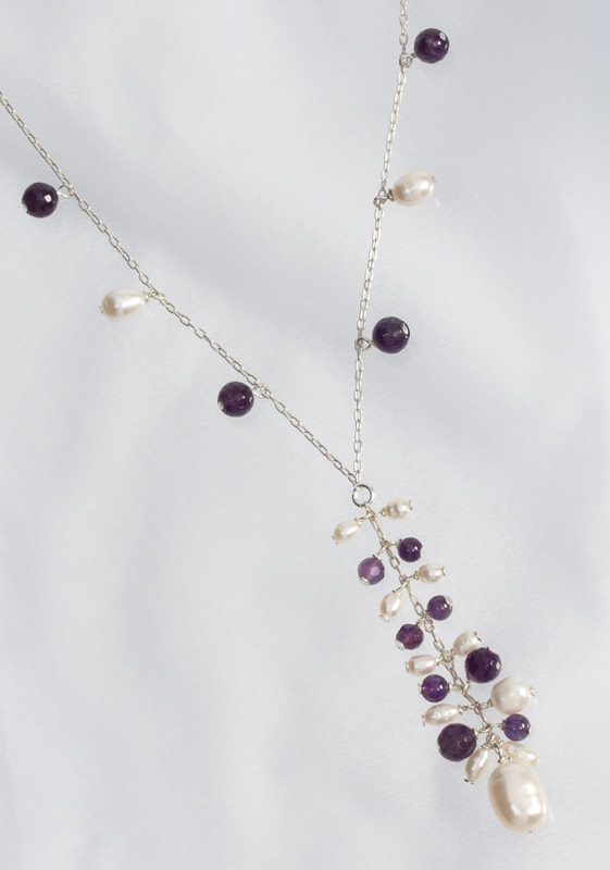Jewelry Photography pearl, silver and precious stone necklace